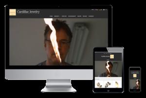 De website van Cardillac Jewelry weergegeven op verschillende devices